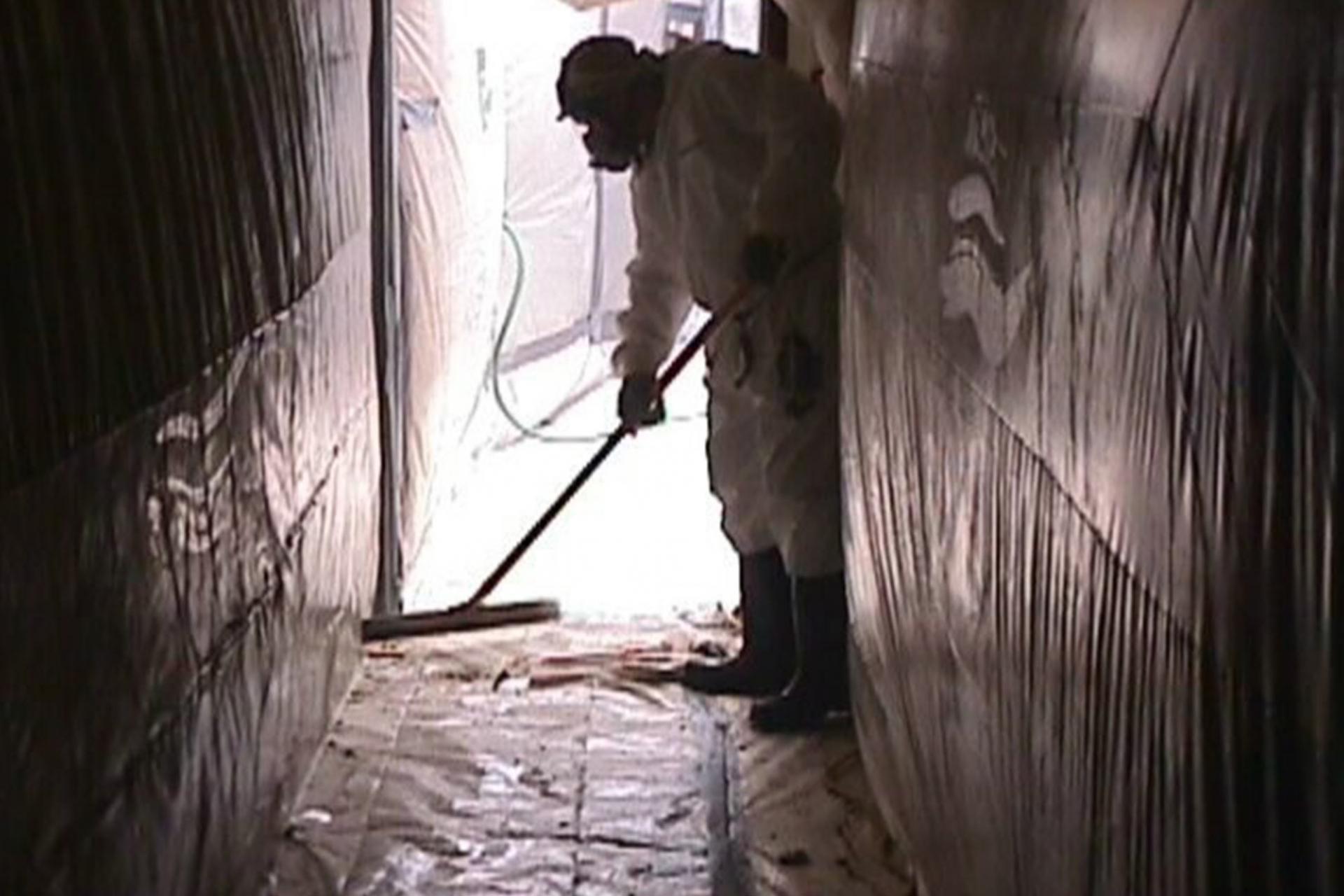 Inside asbestos tent